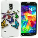 Samsung Galaxy S5 Blue Colorful Butterfly TPU Design Soft Case Cover Angle 2