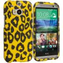 HTC One M8 Black Leopard on Golden 2D Hard Rubberized Design Case Cover Angle 1