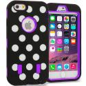 Apple iPhone 6 Purple Polka Dot Hybrid Deluxe Hard/Soft Case Cover Angle 1