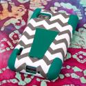 LG Optimus F3 MS659 - Teal Chevron MPERO IMPACT X - Kickstand Case Cover Angle 3