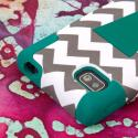 LG Optimus F3 MS659 - Teal Chevron MPERO IMPACT X - Kickstand Case Cover Angle 6