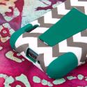 LG Optimus F3 MS659 - Teal Chevron MPERO IMPACT X - Kickstand Case Cover Angle 7