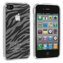 Apple iPhone 4 / 4S Clear Zebra TPU Rubber Skin Case Cover Angle 2