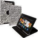 Amazon Kindle Fire HDX 7 Black White Leopard 360 Rotating Leather Pouch Case Cover Stand Angle 1