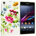 Sony Xperia Z1 Flower Painting TPU Design Soft Case Cover Angle 1