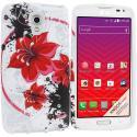 LG Volt LS740 Red Flower TPU Design Soft Rubber Case Cover Angle 1