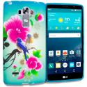 LG G Vista 2 Blue Bird Pink Flower TPU Design Soft Rubber Case Cover Angle 1