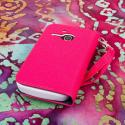 Alcatel OneTouch Evolve - Pink/ Navy Blue MPERO FLEX FLIP Wallet Case Cover Angle 3