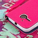 Alcatel OneTouch Evolve - Pink/ Navy Blue MPERO FLEX FLIP Wallet Case Cover Angle 7
