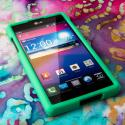 AT&T LG Optimus G - Mint Green MPERO SNAPZ - Rubberized Case Cover Angle 2