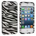 Apple iPhone 5/5S/SE Black / Silver Zebra Hard Rubberized Design Case Cover Angle 1