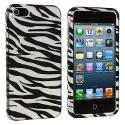 Apple iPhone 5/5S/SE Black / Silver Zebra Hard Rubberized Design Case Cover Angle 2