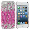 Apple iPhone 5/5S/SE Pink Silver Bling Rhinestone Case Cover Angle 1