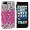 Apple iPhone 5/5S/SE Pink Silver Bling Rhinestone Case Cover Angle 2