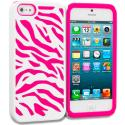 Apple iPhone 5/5S/SE Hot Pink / White Hybrid Zebra Hard/Soft Case Cover Angle 1