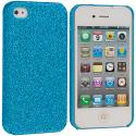 Apple iPhone 4 / 4S Baby Blue Glitter Case Cover Angle 1