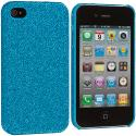 Apple iPhone 4 / 4S Baby Blue Glitter Case Cover Angle 2