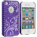 Apple iPhone 4 Purple Diamond Luxury Flower Case Cover Angle 2