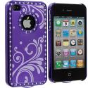 Apple iPhone 4 Purple Diamond Luxury Flower Case Cover Angle 3
