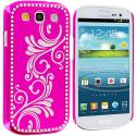 Samsung Galaxy S3 Hot Pink Diamond Luxury Flower Case Cover Angle 1