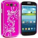 Samsung Galaxy S3 Hot Pink Diamond Luxury Flower Case Cover Angle 2