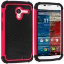Motorola Moto X Black / Hot Pink Hybrid Rugged Hard/Soft Case Cover Angle 1