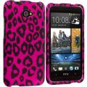 HTC Desire 601 Hot Pink Leopard 2D Hard Rubberized Design Case Cover Angle 1