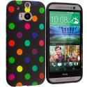 HTC One M8 Black / Colorful TPU Polka Dot Skin Case Cover Angle 1