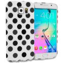 Samsung Galaxy S6 Edge White / Black TPU Polka Dot Skin Case Cover Angle 1
