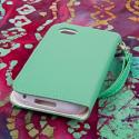 BlackBerry Q5 - Mint MPERO FLEX FLIP Wallet Case Cover Angle 3