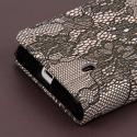 Nokia Lumia 521 - Black Lace MPERO FLEX FLIP Wallet Case Cover Angle 6