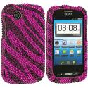 ZTE Avail Z990 Black / Hot Pink Zebra Bling Rhinestone Case Cover Angle 1