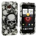 HTC Droid Incredible 4G LTE 6410 Black White Skulls Design Crystal Hard Case Cover Angle 1