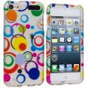 Apple iPod Touch 5th 6th Generation Colorful Circle on White Hard Rubberized Design Case Cover Angle 1
