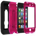 Apple iPod Touch 4th Generation Black / Hot Pink Hybrid Heavy Duty Hard/Soft Case Cover with Stand Angle 2