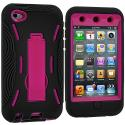 Apple iPod Touch 4th Generation Black / Hot Pink Hybrid Heavy Duty Hard/Soft Case Cover with Stand Angle 3