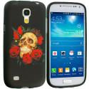 Samsung Galaxy S4 Mini i9190 Red Rose Skull TPU Design Soft Case Cover Angle 1