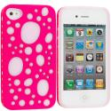 Apple iPhone 4 Pink Hybrid Bubble Hard/Soft Skin Case Cover Angle 1
