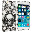 Apple iPhone 6 6S (4.7) Black White Skulls TPU Design Soft Case Cover Angle 1