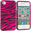 Apple iPhone 4 / 4S Black / Hot Pink Zebra Hard Rubberized Design Case Cover Angle 1