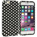 Apple iPhone 6 6S (4.7) Black / White Polka Dot TPU Design Soft Case Cover Angle 1