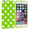 Apple iPhone 6 Plus 6S Plus (5.5) Neon Green / White TPU Polka Dot Skin Case Cover Angle 1