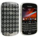 BlackBerry Bold Touch 9900 9330 Clear Checkered TPU Rubber Skin Case Cover Angle 1