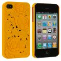 Apple iPhone 4 / 4S Orange 3D Rose Hard Rubberized Back Cover Case Angle 1