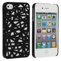 Apple iPhone 4 / 4S Black Birds Nest Hard Rubberized Back Cover Case Angle 1