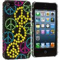 Apple iPhone 5/5S/SE Colorful Peace Sign Bling Rhinestone Case Cover Angle 2