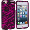 Apple iPod Touch 5th Generation 5G 5 Black / Hot Pink Zebra Hard Rubberized Design Case Cover Angle 1