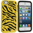 Apple iPhone 5/5S/SE Black / Yellow Hybrid Zebra Hard/Soft Case Cover Angle 2