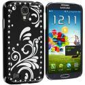 Samsung Galaxy S4 Black Diamond Luxury Flower Case Cover Angle 3
