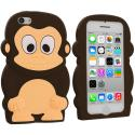Apple iPhone 5C Brown Monkey Silicone Design Soft Skin Case Cover Angle 1